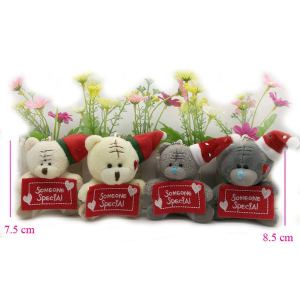 7.5cm 8.5cm Christmas Stuffed plush Toys teddy bear with someone special, soft toys for cartoon bouquets 10 piece/lot