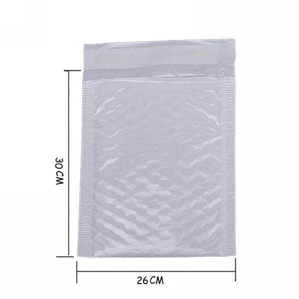 Atacado-4X Kawaii Película Branca Pérola À Prova D 'Água 26 * 30 Envelope Bulle Bag Mailer Acolchoado Envelopes de Envio Com Bolha Sacos de Correio