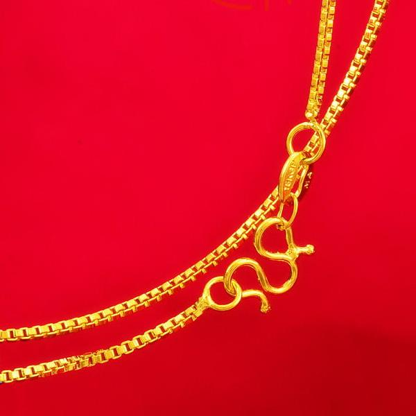 yellow box chain bridal necklace, 24k gold plated necklace for 2016 women collier jewelry suitable for any pendant
