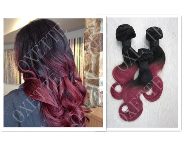 Oxette Burgundy Ombre hair extensions,Two tone colors (#1T#Burg) ,Straight or body Wavy, 3pcs 4 pcs 100% Brazilian Virgin Hair ,ombre weave