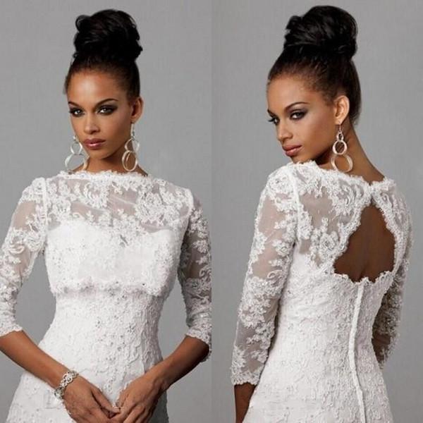 Bolero Jacket Wedding Dress 2017 Bateau Neckline Backless 3 / 4 Long  Sleeves Crystal Beaded White