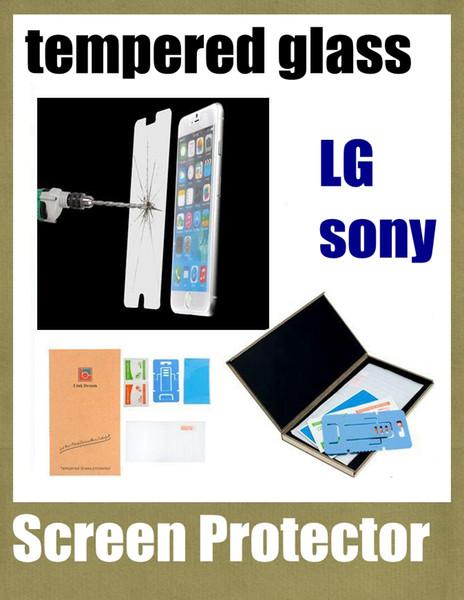Protectores de pantalla de vidrio templado 0.33MM 9H a prueba de explosiones para lg g2 g3 nexus5 nexus 6 sony z1 z2 z3 con el paquete al por menor dhl SSC016 gratuito