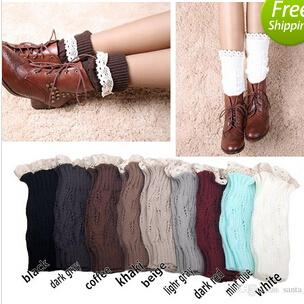 Women Girl Leg Warmers Hosiery Stockings Crochet Knit button white Lace trim Boots socks Cuff Leggings Tight 9colors