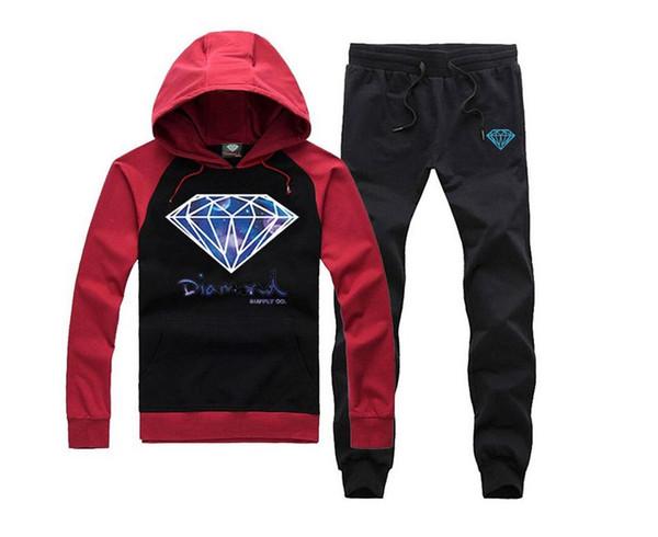 s-5xl free shipping Diamond supply co hoodie +pants suit mens autumn winter high fashion Sweatshirts fleece Tracksuits