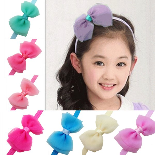 2015 Korean seersucker Material headband baby girls headbands hair bows tie style Children's hair accessories kids Christmas Gifts 30pcs/lot