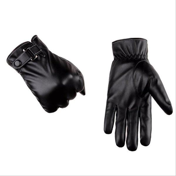 1 Pairs Men's touch screen gloves simulated washable leather gloves autumn winter PU plus cashmere thickening winter driving gloves