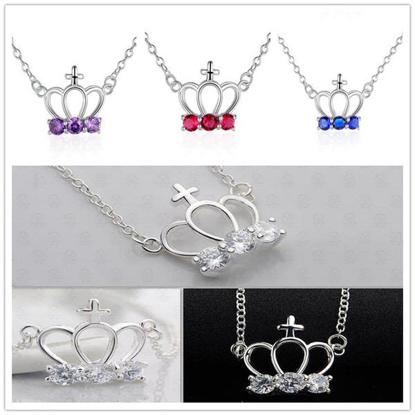 925 Sterling Silver Plated Crown Charms & Cross Charms Necklace With Red White Blue Purple Zircon Rolo Chain Jewelry For Women Girl