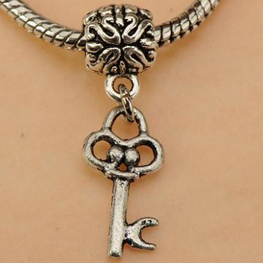 Pandora Charms Beads DIY Bracelets Necklaces Pendant Dangle Keys Flower Retro Silver Slider Large Hole Metal Wholesale Craft Fittings 100pcs