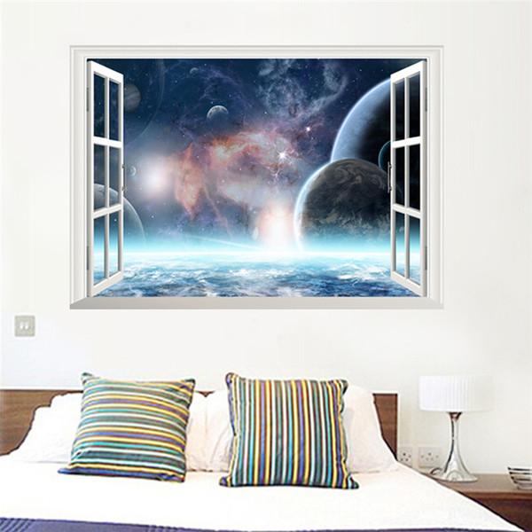 Großhandel 3D Effekt Weltraum Fenster Wandaufkleber Wohnzimmer Schlafzimmer  Wandtattoo Fenster Poster Papier Poster Wandbild Von Chairdesk, $6.26 Auf  ...
