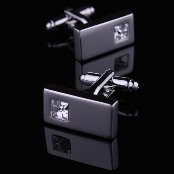 top popular High Quality Crystal Silver Cufflink For Shirt French Cufflinks Fathers Day Gifts For Men Jewelry Wedding Cuff Links W134 2021