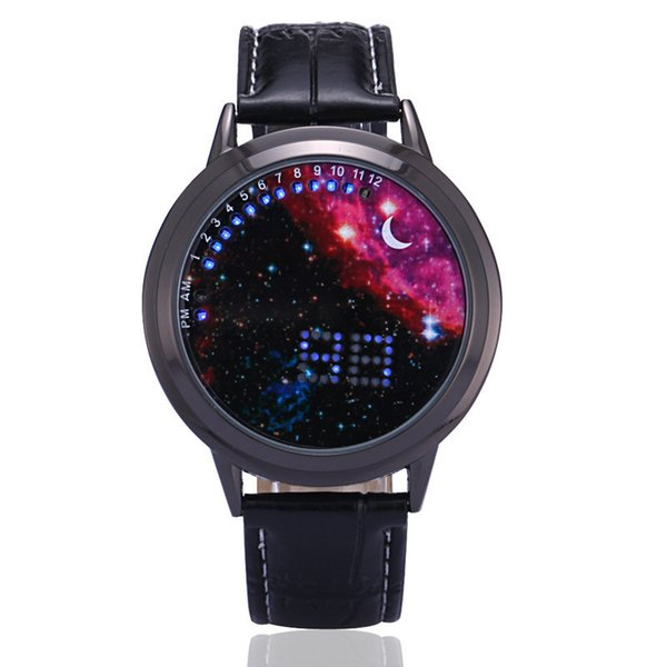 Fashion LED Touch Screen Watches Men Women Unisex Creative Starry Star Moon Wristwatch Students Christmas Gift Watches
