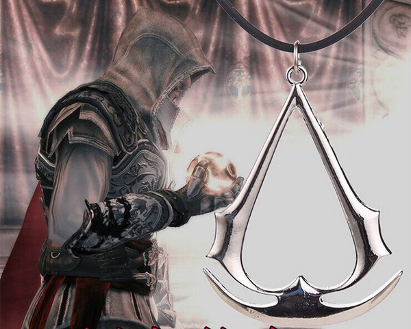 wholesale child 2017 Hot Argent alloy cosplay games Assassin Creed necklace Badge Symbol sign Animation Cartoon pendant Arrow necklace x046