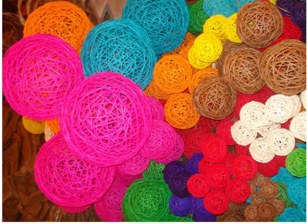 100pcs/lot 3cm Mix color Wedding Decorative Rattan Ball,Christmas Decor Home Ornament / diameter Home Decoration TY1384