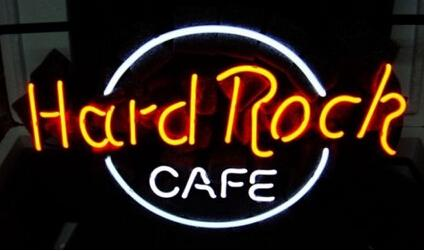 "Hard Rock Cafe Neon Sign Lighting Peter Morto Issac Tigrett American Food Themed Restaurant Chain Advertisement Display Sign Brand 16""X12"""