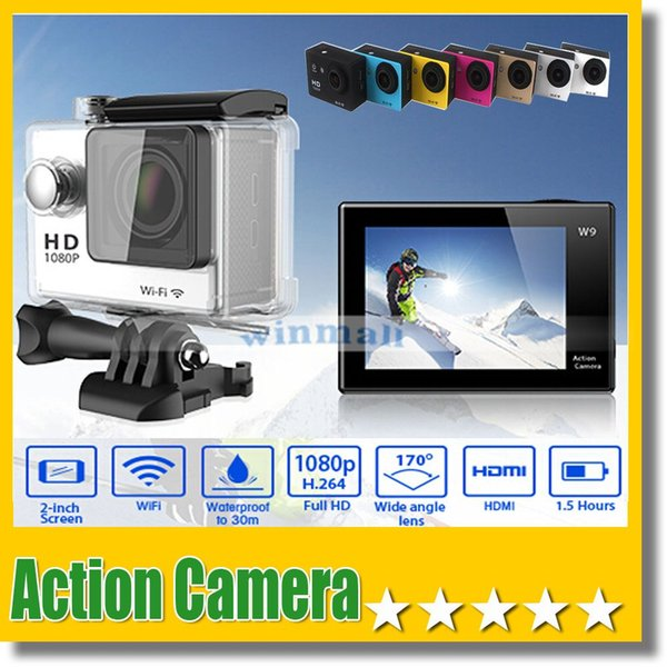 top popular W9 2 inch Screen Wifi Version Action Camera 30M Waterproof 1080P FHD Extreme Sports Mini DV Diving Video Camera 2020
