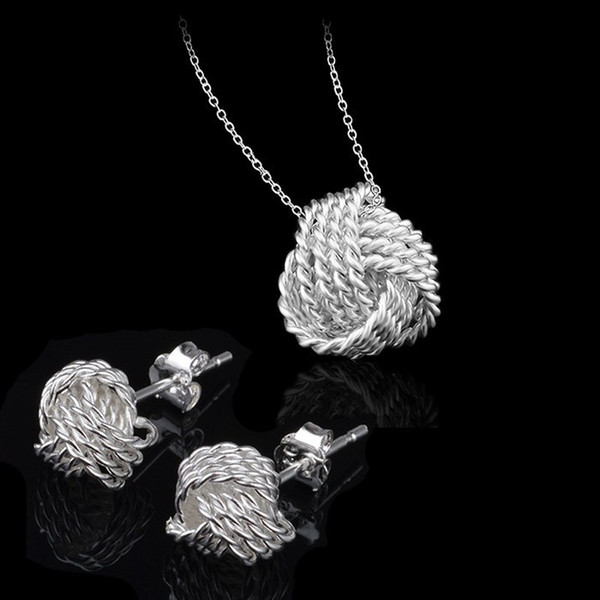 top popular Fancy 925 Silver Jewelry Sets Women Wedding Jewelry Set Necklace Earrings 925 Sterling Silver Bridal Jewelry Set 2019