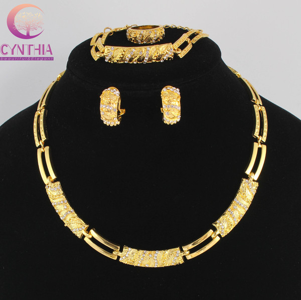 Women Party Gold Plated African Beads Jewelry Set Crystal Cross Necklace Bracelet Earring Ring Wedding Dress Accessories Costume