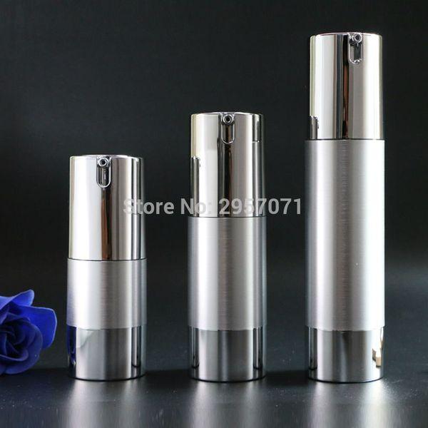 Luxo de Prata de Ouro Vazio Bomba Airless garrafas Mini Vácuo Portátil Tratamento de Loção Cosmética garrafa de Viagem 10 pcs Frete Grátis
