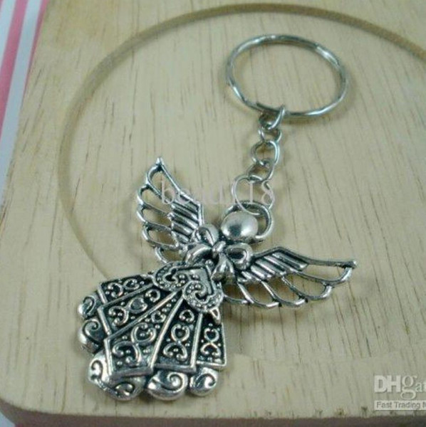 best selling Hot sell ! 30pcs DIY Accessories Material Antique silver Zinc Alloy Angel Band Chain key Ring