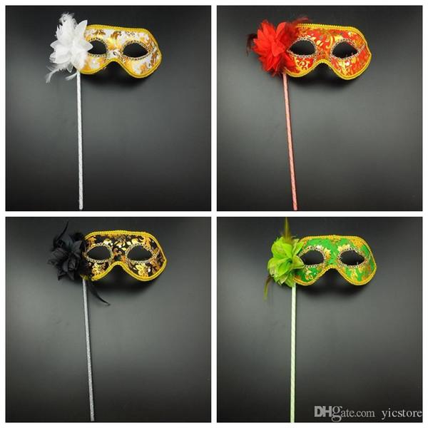 Partido Máscaras de Pano De Ouro Revestido de Lado da Flor Venetian Masquerade Partido Máscara Em Vara Carnaval Máscara de Halloween Cor Mix 50 pçs / lote frete grátis