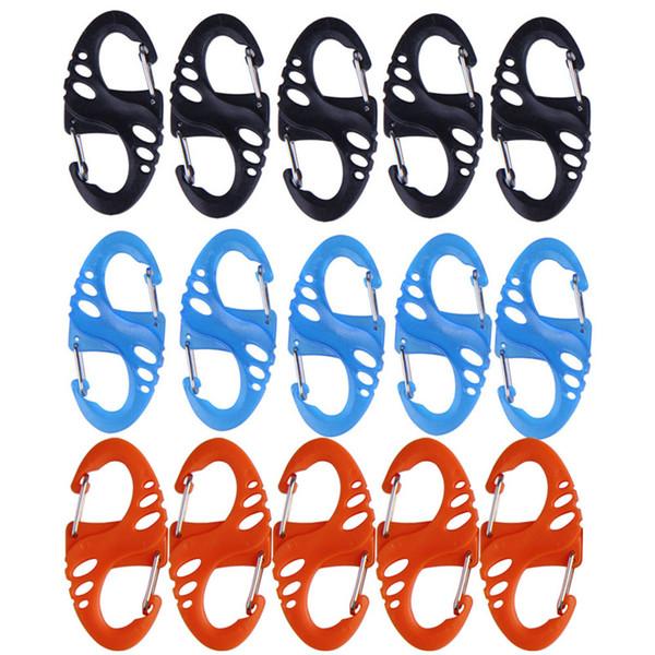 "5 Pcs Climbing Hook ""S"" Type Carabiner Snap Hook Dual Buckle Outdoor Climbing Mini Keychain Tool 3 Colors"