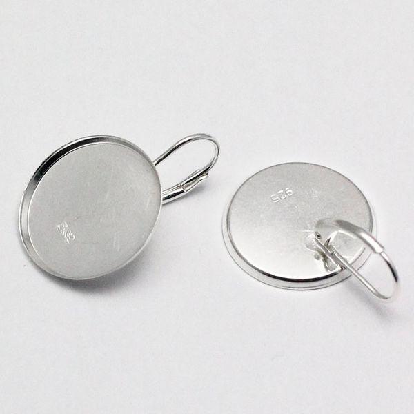 Beadsnice sterling bezel earrings 18mm silver earring setting French leverback earring findings earring blank bezels wholesale ID 28389