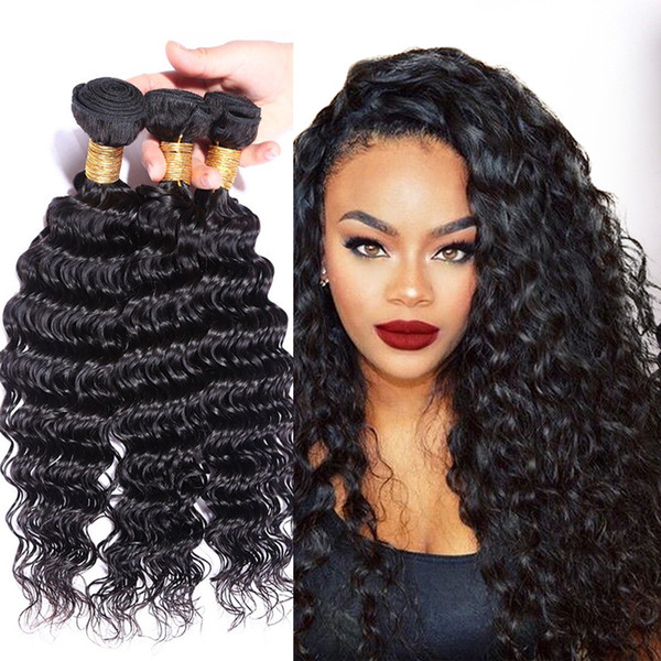 6A 3/4 Bundles Brazilian Deep Wave Virgin Hair 100g/pc Grace Hair Products Virgin Brazilian Peruvian Curly Hair 100% Deep Weave Human Hair