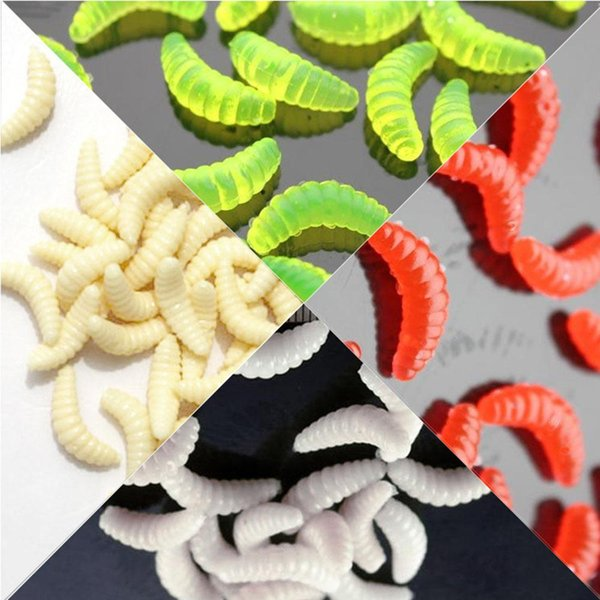 100 Pcs Iscas Artificiais Fishing Worms Lure Simulation Worm Maggot Grub Baits Fishy Smell Pesca Soft Fishing Lures 2cm 0.5g