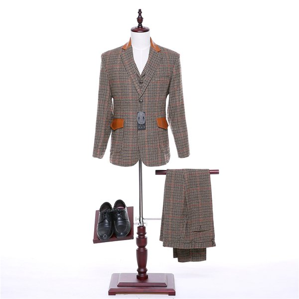 Classic new Red lattice Men's evening dress and business suit 3 sets (jacket + pants + vest) custom made