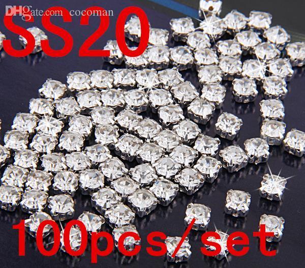 Gros-SS20 4.5mm 100pcs cristal clair coudre sur les strass Diamond strass à griffes Flatback avec des pierres en verre plaqué argent
