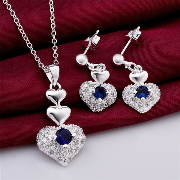 top popular Beautiful 925 Sterling Silver Jewelry Set Heart Pendant Necklace & Earrings with Zircon crystal wedding gift for woman free shipping 2019