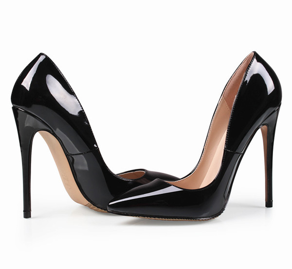 Brand 12CM Woman Wedding Bridal Black office Shoes low for ladies red bottom High heeled Heels Women dress Pumps