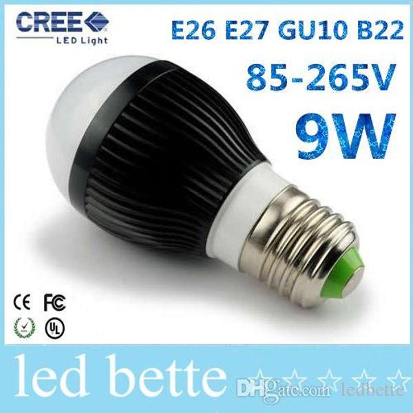 CREE AC85-265V dimmable led globe bulbs 9w 3X3W E27 E14 B22 GU10 base type warm / cold white LED bubble ball bulb spotlight