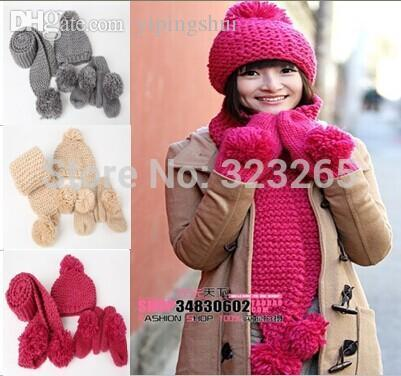 Wholesale-Warm winter scarf three piece ball wool knitted hat, gloves, knitted suit, multi-color optional, gift Scarf Set