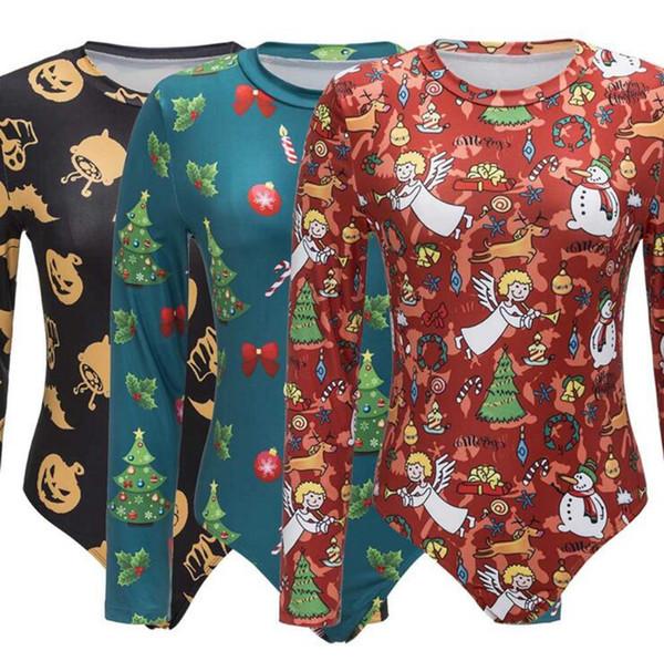 Maniche lunghe da donna Tute Natale Autunno Inverno Cartoon Stampa Tuta Tuta aderente Tuta Playsuit Pagliaccetto 20 pezzi OOA3653