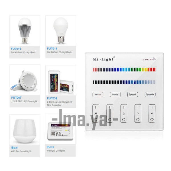 2017 new Mi Light Touch Screen RF Panel Controller 4-Zone 2.4G RF Adjustable Mi-Light RGBW Bulb Led Panel 86 wall Controller