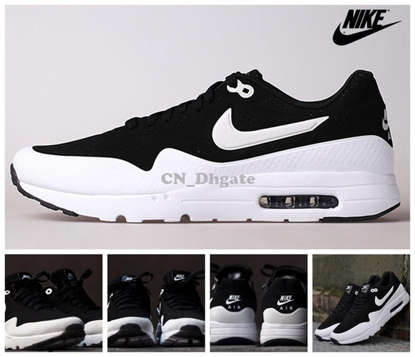 Nike Air Max 1 Ultra Moire Black Silver White 705297 001 Women Men Running Shoes, Brand New Airmax Maxes Max 1 Size 36 44 Sports Shorts Shoe Shop From