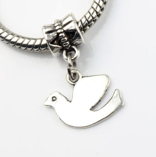 100pcs/lot Peace Dove Flying Alloy Metal Big Hole Beads Tibetan Silver Fit European Charm Bracelets Jewelry DIY B173 23.8x13.8mm