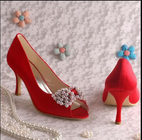 Hot sale Bridal shoes diamond wedding shoes red high-heeled Women Wedding Shoes Summer High Heel Dropshipping Lady Dress or party Shoes
