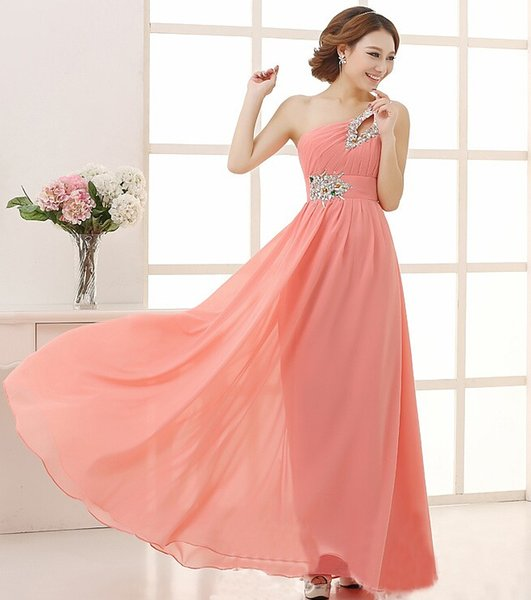 best selling Fashion One-shoulder Sequin and Beaded A-line Long Prom Bridesmaid Dresses