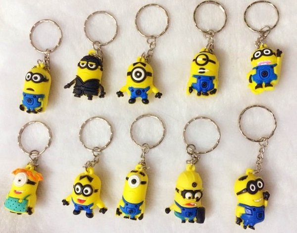 best selling 500pcs lot Free DHL 2015 Hot Sale 3D Despicable Me Minion Action Figure Keychain Keyring Key Ring Cute Mix order 18 styles