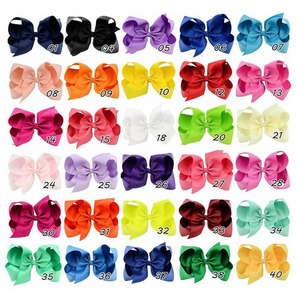 best selling 40Colors choose free 6 inch baby big bow hairbows infant girls hair bows with Barrettes 15cm*12cm