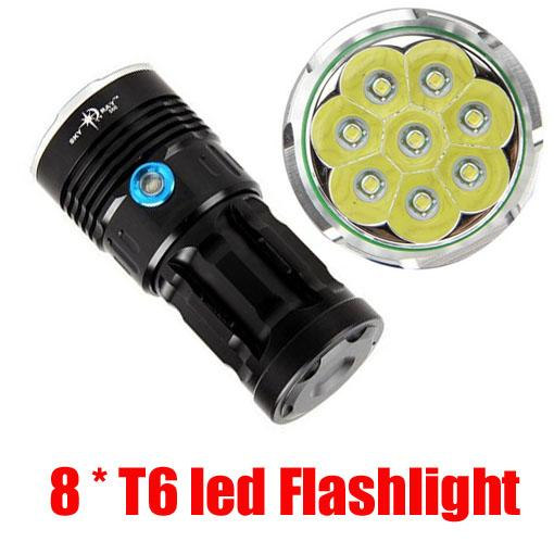 Lowest price,SKYRAY 12000Lumens 8X CREE XM-L T6 LED Lampada Torcia luce 8T6 LED Hunting Flashlight Torch 18650 Free Shipping