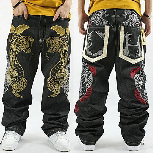 En gros-2015 nouveau style chinois hommes noirs jeans jean jean demin plus la taille Python broderie hip hop baggy jeans nzk01