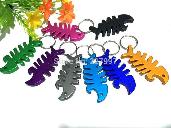 top popular 300pcs lot Fish bottle opener, fish bone bottle opener keychain, Animal shape bottle opener keychain 2019