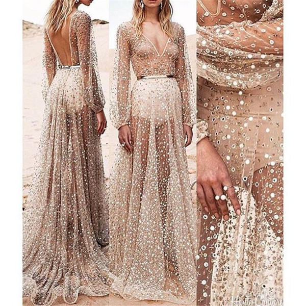 Kim Kardashian Sexy Sequined Low Cut Hollow Out Paty Dress Perspective Sequin Off Shoulder Halter Sleeveless Ankle Length Party Dress PF-033