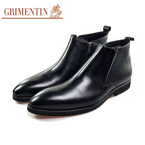 GRIMENTIN Hot sale brand mens boots 100% genuine leather designer formal black brown mens ankle boots for Italian fashion men dress shoes