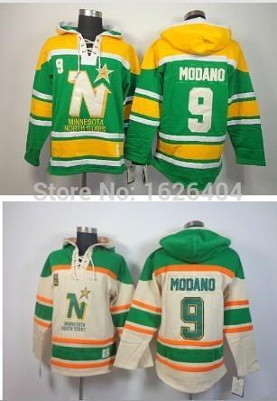 Minnesota Kuzey Yıldız Vintage # 9 Mike Modano Kış Kapüşonlu erkek Buz Hokeyi Formalar Otantik Nakış logoları Dikişli Formalar