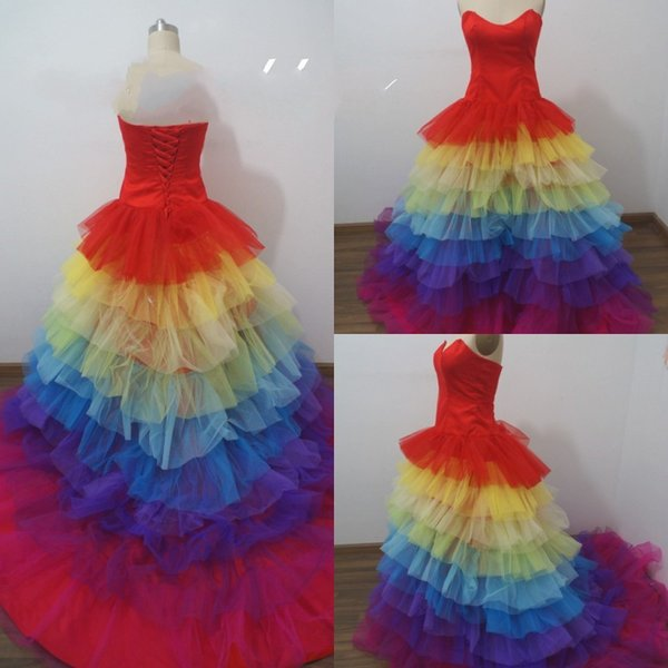 Amazing Ball Gown Rainbow Wedding Dresses Strapless Sleeveless ...