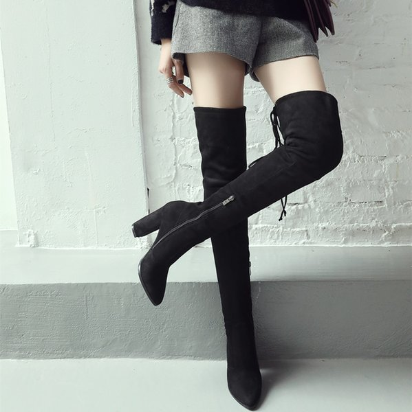 2018 new Women Boots Shoes Winter Knee High Boots Sexy Stretch Over The Knee High Boots Black Slim Fit Thigh High Heels